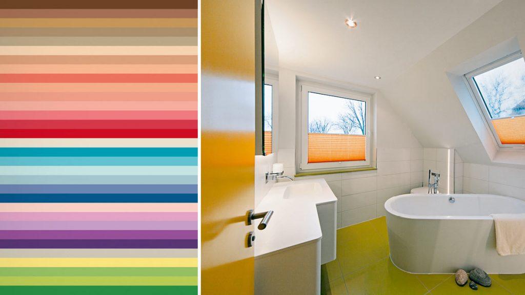 Frühlingsfarben im Badezimmer.